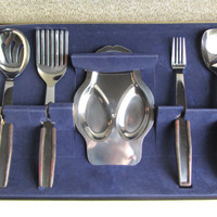 Mid Century Modern Stainless Steel Cutlery Serving Set