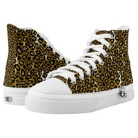 Gold Metallic and Black Leopard Patterns Printed Shoes