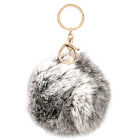 Grey Pom Pom Key Chain