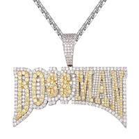 Two Tone Boss Man Custom Hip Hop Micro Pave Icy Pendant Chain