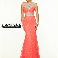 Two Piece Lace High Neck Paparazzi Prom Dress By Mori Lee 97085