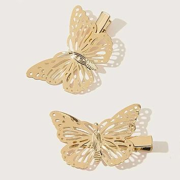 Fashion Casual 2pcs Butterfly Decor Hair Clip