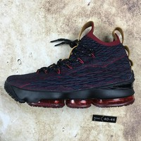 DCCK N080 Nike LeBron XV 15 Cavs Hight Cup Knit Basketball Shoes Red Black