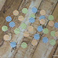 Paper Garland Lime Green Blue and Orange Chevron Garland Craft Cord Party Supplies Home Decor Baby Shower Garland 10 Feet