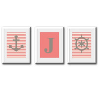 Nautical Themed Initial Print Set for Girl Room or Nursery Light Coral and Gray 8x10