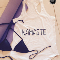 Namaste tank top for women tank gifts yoga tops for womens tops for girls funny yoga shirt girlfriend yoga gift