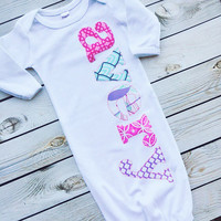 """sweet sprouts girls personalized name monogram newborn """"the avery"""" gown hospital outfit"""