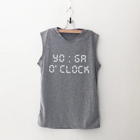 Yoga o'clock tank workout women tank running fitness muscle tank top womens funny sayings slogan activewear training gym tank work out