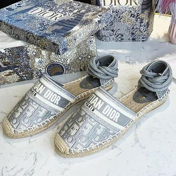 DIOR embroidered woven letter strap sandals fisherman shoes Gray