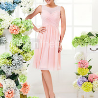 [$69.99] Knee-length Georgette Bridesmaid Dress - Pearl Pink Plus Sizes / Petite A-line Jewel