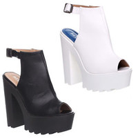 WOMENS LADIES CLEATED CHUNKY SOLE PLATFORM BLOCK HEEL SANDALS BOOTS SHOES SIZE