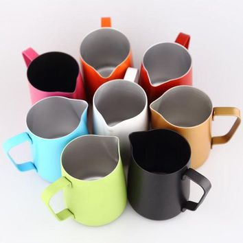 CREYLD1 Espresso Stainless Steel Coffee Pitcher Barista gear 8 colors choice Kitchen Coffee Milk Frothing coffee Jug 350ml