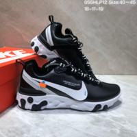 DCCK2 N653 UNDERCOVER x Nike Upcoming React Element Leather Big Logo Running Shoes Black White