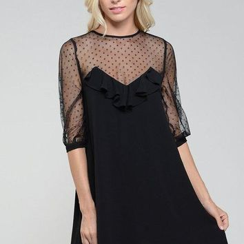 Evon Sheer Polka Dot Shift Dress
