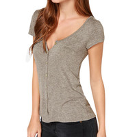 Light Brown V-neck Short Sleeve T-shirt
