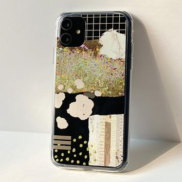 Vintage Abstract Collage Clear Phone Case