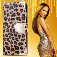 Women Girl Fashion Leopard Flip Leather Case For iPhone 6 Plus 5.5 inch Bling Diamond Stand Wallet Phone Cover Bag For iPhone 6+