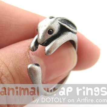 Bunny Rabbit Animal Wrap Around Ring in Silver - Sizes 4 to 9 Available