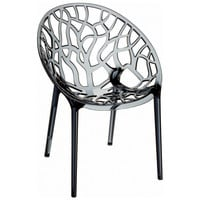 Crystal Polycarbonate Modern Dining Chair Transparent Smoke Gray (Set of 2)