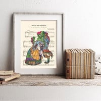 Beauty and the Beast Silhouette Stained Glass Tale As Old As Time Sheet Music Art Print