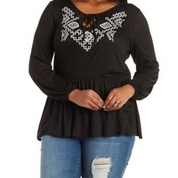Plus Size Embroidered Ribbed Top with Cut-Out