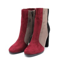 Ava Retro Style Color Block Ankle Boots
