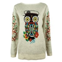 ZLYC Women Cute Floral Owl Jungle Print Tree Jacquard Sleeves Pullover Jumper