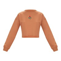 Peach Rose Embroidered Crop Sweater