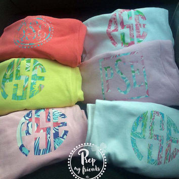 Lilly Pulitzer Inspired Monogrammed Tee, Monogram Long Sleeve Tee, Monogrammed T Shirt, Solid Color Monogram Tee Shirt, Preppy T Shirts