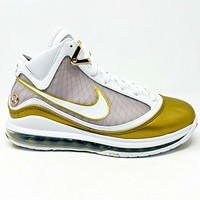 Nike Lebron 7 VII QS China Moon White Gold Mens Size 8 Sneakers CU5646 100