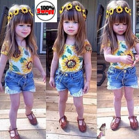 Girls 2 PC Floral Print Shirt and Denim Shorts