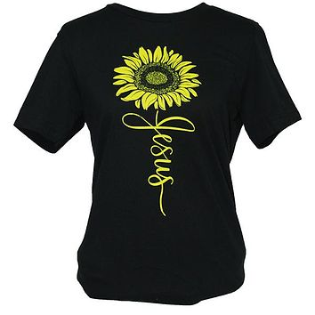 Southern Attitude Sunflower Jesus Front Print T-Shirt
