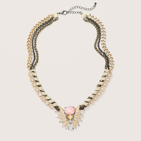 Short Cord Wrapped Pink Stone Necklace