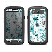The Blue and White Floral Laced Pattern Samsung Galaxy S3 LifeProof Fre Case Skin Set