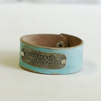 Personalized bracelet mint leather  bracelet