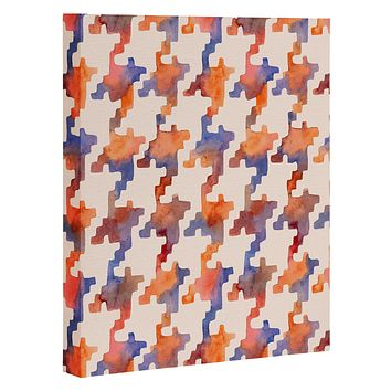 Betsy Olmsted Pixel Houndstooth in oxide Art Canvas