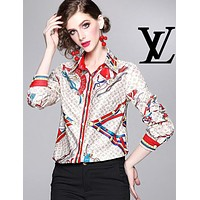 LV Louis Vuitton Autumn Fashion Women Print Slim Long Sleeve Lapel Shirt Top