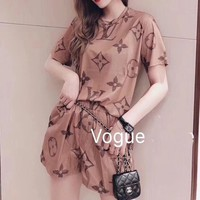 """LOUIS VUITTON"" Woman's Leisure Fashion Letter Personality Printing  Short Sleeve Tops Shorts Two-Piece Set Casual Wear"