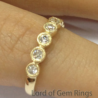 Full Cut Diamond Wedding Band Half Eternity Anniversary Ring 14K Yellow Gold Milgrain