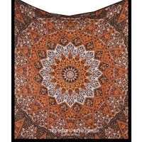 Black Multicolor Hippie Psychedelic Star Mandala Tapestry Wall Hanging Bed Cover on RoyalFurnish.com