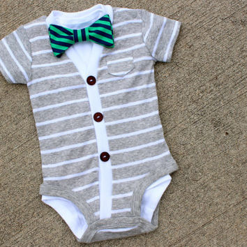 Cardigan and Bow Tie Onesuit Set - Grey with Navy/Green Stripe - Trendy Baby Boy - Perfect for Spring Shower