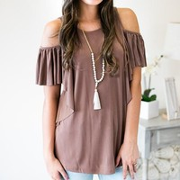 Check On The Cold Shoulder Tunic - Mocha