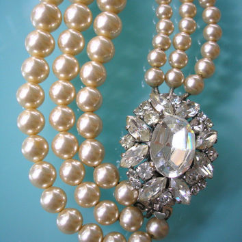Statement Necklace, Pearl Necklace, Mother of the Bride, Great Gatsby Jewelry, Pearl Choker, Wedding Necklace, Bridal Jewelry, Art Deco