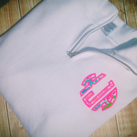 Fall ***sale*** The Preppy Quarter Zip Sweatshirt with Lilly pulitzer appliquéd monogram