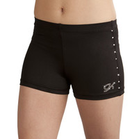 Jeweled Black Nylon/Spandex Workout Shorts from GK Elite