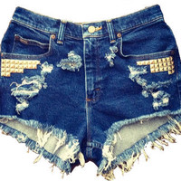 Destroyed Jean Shorts High Waisted Jean Shorts by SteenStreetCo