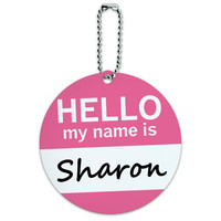 Sharon Hello My Name Is Round ID Card Luggage Tag