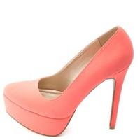 Neon Almond Toe Platform Pumps by Charlotte Russe