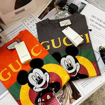 """""""Moschino x Disney"""" Women Fashion Cute Cartoon Mickey Mouse Embroidery Letter Print Short Sleeve Casual T-shirt Top Tee"""