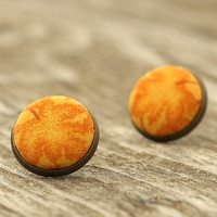 Stud Earrings - Autumn Pumpkin Leaves Studs - Yellow Leaves of Halloween - Orange Natural Rustic Fabric Buttons Jewelry Antique Posts